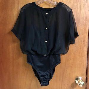 Natori Black Chiffon Blouse Body Suit w/ cami Sz M